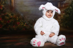 Easter bunny. A two year old girl dressed as a bunny for easter Royalty Free Stock Photos