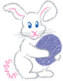 Easter Bunny. Illustration of a cartoon Easter bunny in a sketchy crayon-look style stock illustration