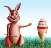 Easter bunny. Cute easter bunny proudly shows its decorated egg. Hand drawn illustration Stock Photos