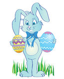 Easter bunny. Cute easter banny with eggs in hands royalty free illustration
