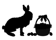 Easter Bunny. Silhouette of bunny rabbit and easter basket Stock Image