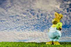 Easter bunny in the aky stock images