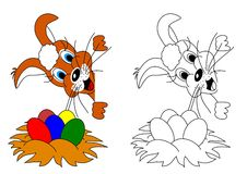 Easter Bunny as a coloring for kids. Easter rabbit with colorful eggs in the nest as a coloring for kids - illustration Stock Photos