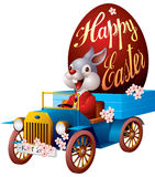 Easter bunny in auto Stock Photos