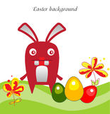 Easter bunny backgraund. The Easter bunny with Easter eggs Royalty Free Stock Image