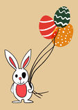 Easter bunny with balloon eggs Royalty Free Stock Image