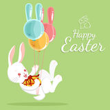 Easter bunny and balloons Stock Images