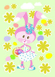 Easter bunny with basket Stock Images