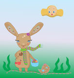 easter bunny with a basket Royalty Free Stock Image