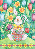 Easter Bunny With Basket. Watercolor illustration of an Easter bunny sitting in a field of tulips holding a basket full of Easter eggs Stock Photography
