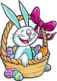 Easter bunny in basket Stock Image