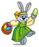 Easter bunny with basket Stock Photo