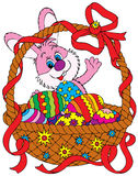 Easter Bunny and basket. Vector clip-art / illustration for your design, scrapbook or holiday card Stock Image