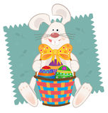 Easter Bunny With Basket. Cute bunny with Easter baskets and colorful eggs. Eps10 Stock Photography