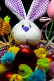 Easter Bunny in a basket , hollyday arrangements royalty free stock image