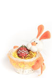 Easter bunny basket with egg Royalty Free Stock Photography