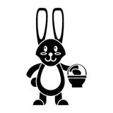 Easter bunny with basket egg pictogram stock illustration