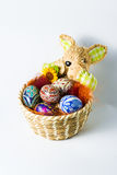Easter bunny basket with eggs. Easter bunny basket with colourfull eggs Stock Images