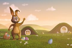 Easter bunny with a basket and Easter eggs stock image