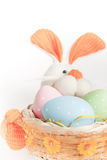 Easter bunny basket with eggs Stock Photos