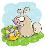Easter Bunny with Basket of Eggs Royalty Free Stock Photo