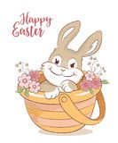 Easter bunny in a basket with flowers greeting card Stock Images