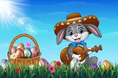 Easter bunny with a basket full of decorated Easter eggs in a field. Cartoon rabbit playing guitar in the garden with wearing a so. Illustration of Easter bunny Royalty Free Stock Photography