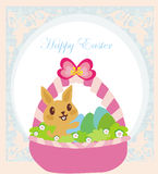 Easter Bunny with basket full of Easter eggs Royalty Free Stock Photo