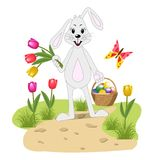 Easter Bunny with a basket of painted eggs stock illustration