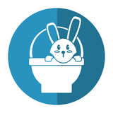 Easter bunny in basket present shadow Stock Image