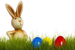 Easter bunny behind grass with easter eggs Stock Photo
