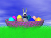 Easter bunny in a big easter e Stock Image