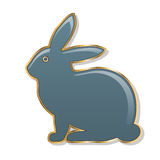 Easter bunny. blue bunny in a golden frame. gloss finish. white background. Illustration Royalty Free Stock Photo