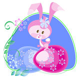 Easter bunny on the blue frame Royalty Free Stock Photo