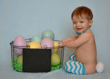 Easter Bunny Boy with Basket of Eggs Royalty Free Stock Image