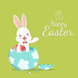 Easter bunny and broken egg Royalty Free Stock Image