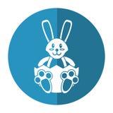 Easter bunny with broken egg shadow Stock Photo