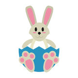 Easter bunny with broken egg Royalty Free Stock Photography