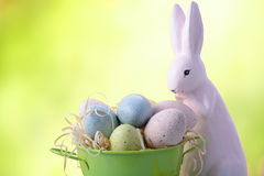 Easter Bunny with Bucket of Eggs Stock Photography