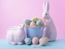 Easter Bunny with Bucket of Eggs Royalty Free Stock Images