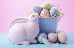 Easter Bunny with Bucket of Eggs Royalty Free Stock Image