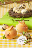 Easter bunny buns. Sweet Easter bunny buns and quail eggs Royalty Free Stock Photography