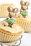 Easter Bunny Cake. Easter bunny cupcakes on cake stand - white background stock photography