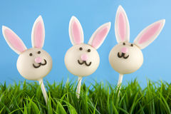 Easter bunny cake pops. Three Easter bunny cake pops in grass. Round cakes covered with white chocolate and decorated with fondant stock images