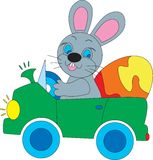 Easter Bunny in a car Royalty Free Stock Photos