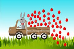 Easter bunny by car stock photography