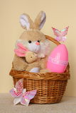 Easter Bunny - Card , Egg in Basket - Stock Photo stock image