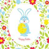 Easter bunny card with eggs and flowers Stock Image