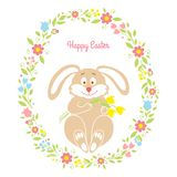 Easter bunny card with flowers Royalty Free Stock Photos