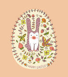 Easter bunny card with hand drawn flowers Stock Photo